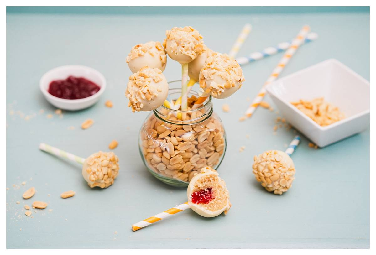 Peanut butter and jelly cake pops