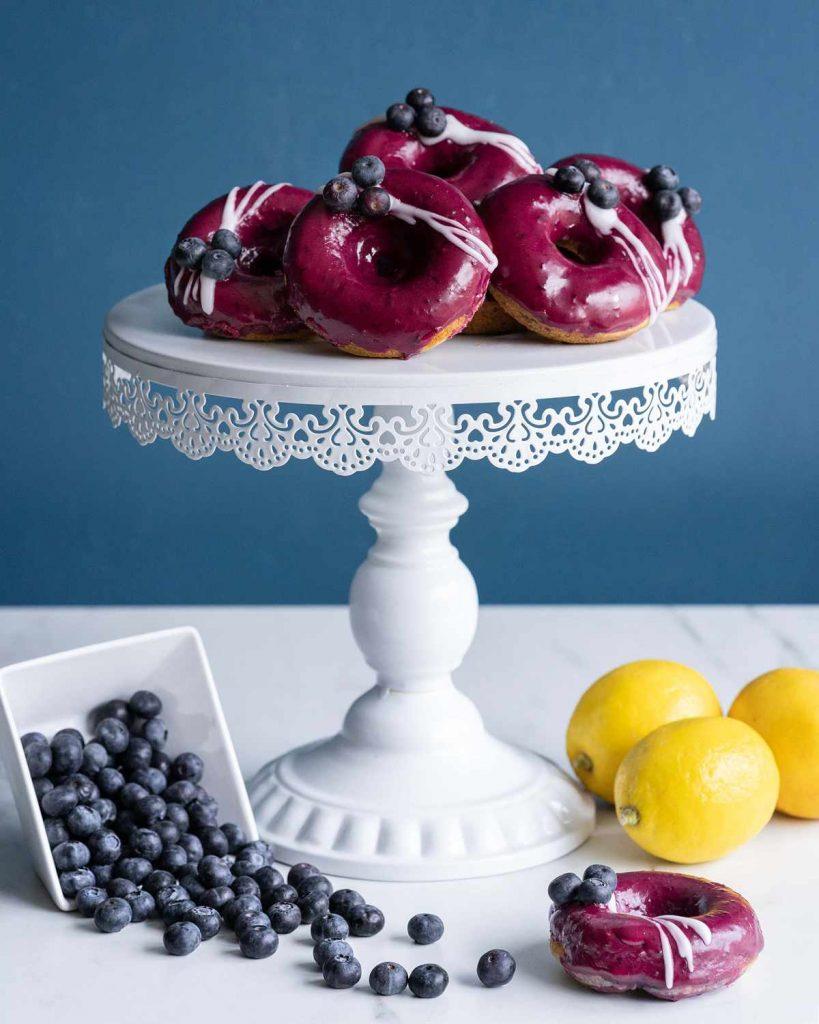 baked blueberry lemon doughnuts