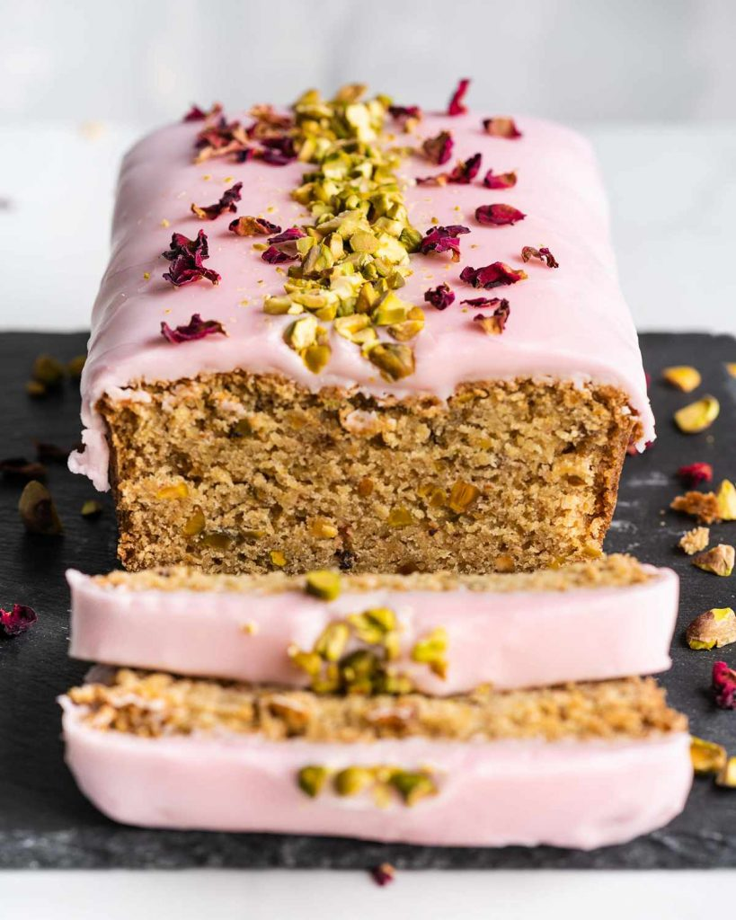 rose pistachio and cardamom loaf