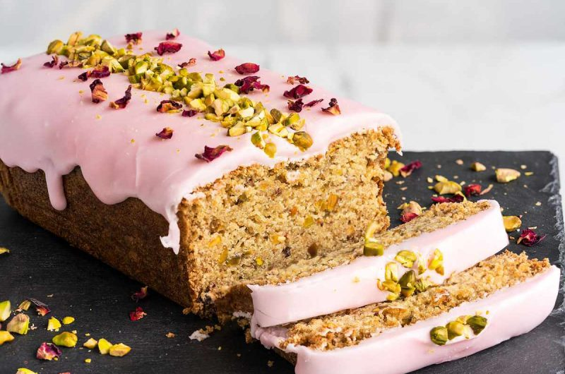 Rose Pistachio and Cardamom Loaf Cake (Eggless)