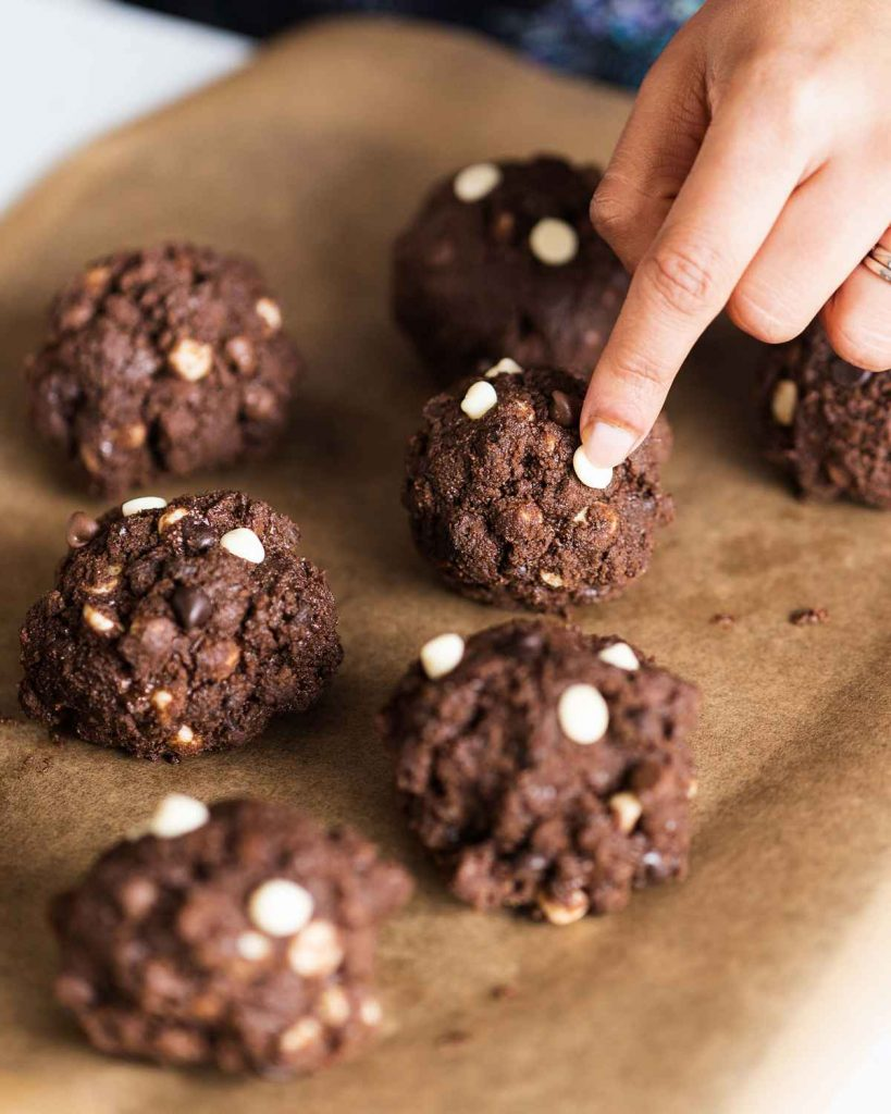 Extra choc chips on ultimate triple chocolate cookies